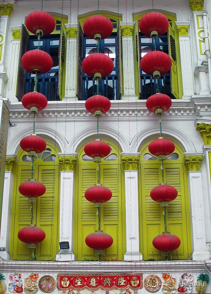 Red Lanterns Green Windows by Helzway