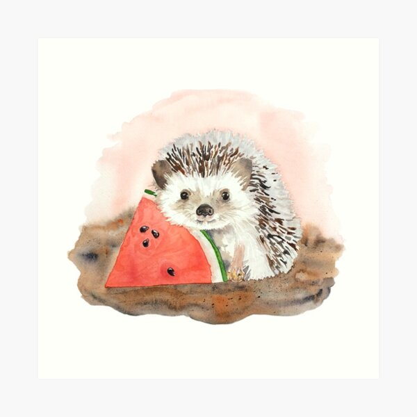 Baby Hedgehog with Watermelon Art Print