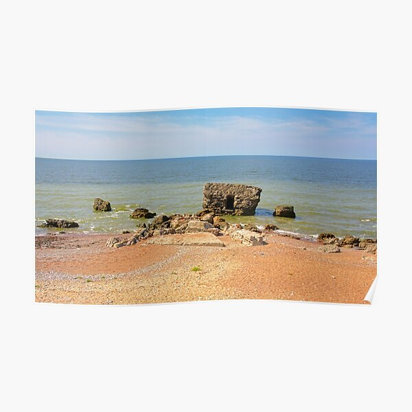 Ruins of bunkers in the sea at Karosta beach Poster