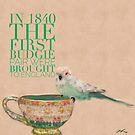 Baby Budgie (parkeet tiny and cute) on teacup animal facts green typography by Monica Michelle