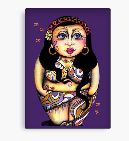 Matryoshka On Holiday Purple & Single Canvas Print