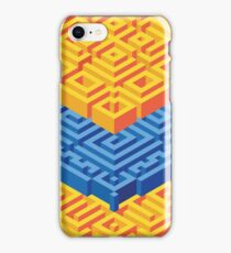 Isometric Stack in Orange and Blue iPhone Case/Skin