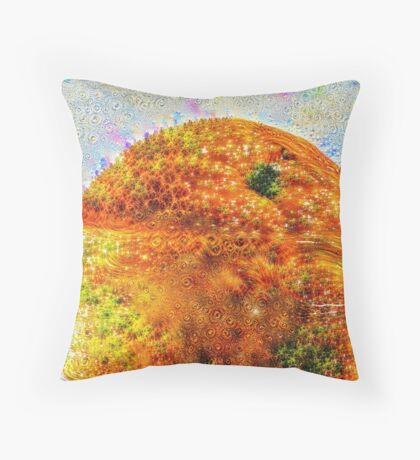#DeepDreamed Frozen Orange Throw Pillow