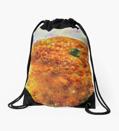 #DeepDreamed Frozen Orange Drawstring Bag