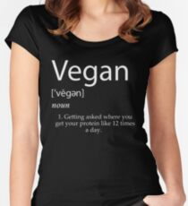 Vegan definition getting asked where you get your protein Women's Fitted Scoop T-Shirt