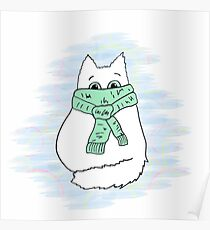 Cute white cat in green scarf. Poster