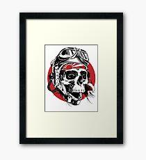Japanese Pilot skull Framed Print