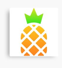 Pineapple with crown illustration Canvas Print