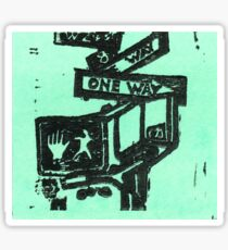 black and aqua street signs Sticker