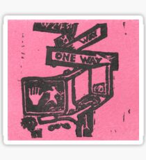 black and pink street signs Sticker