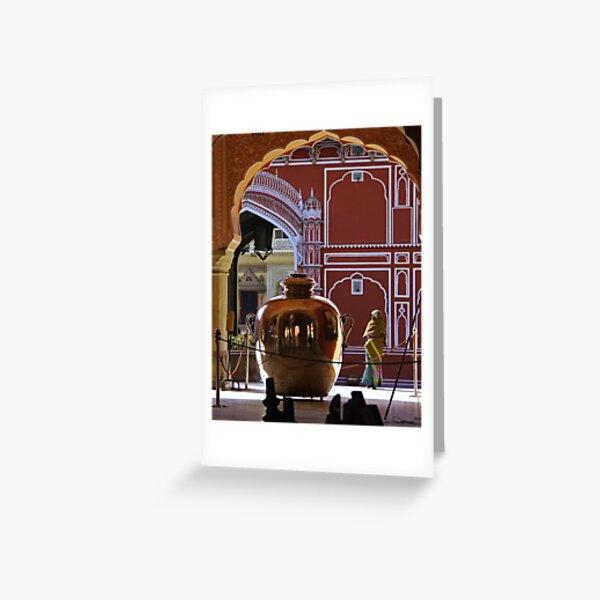 Woman with a big silver jar - India Carte de vœux