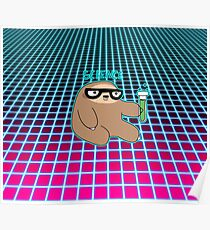 Science Sloth Vaporwave Grid Pattern Poster