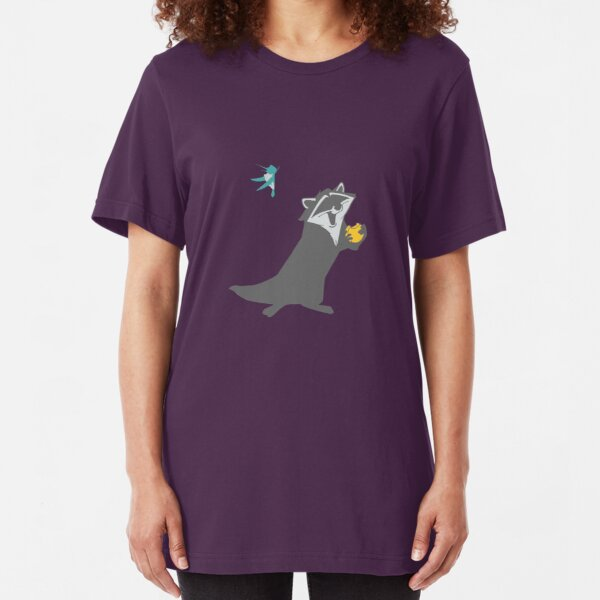 Bird and Raccoon Slim Fit T-Shirt