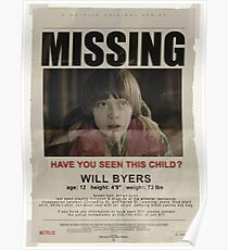 MISSING - WILL BYERS Poster