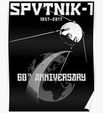 Sputnik 60th Anniversary Artificial Earth satellite 1957-2017 Poster