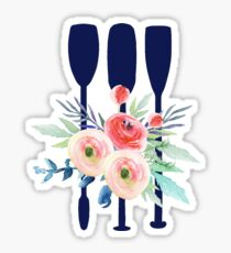 Watercolor flowers and rowing oars Sticker