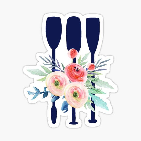 Watercolor flowers and rowing oars Sticker