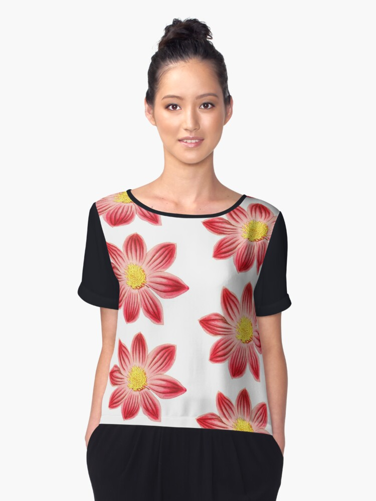Red and Yellow Flowers Pattern Women's Chiffon Top Front