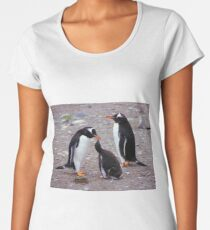 Gentoo Penguin Family Feeding Chick Women's Premium T-Shirt