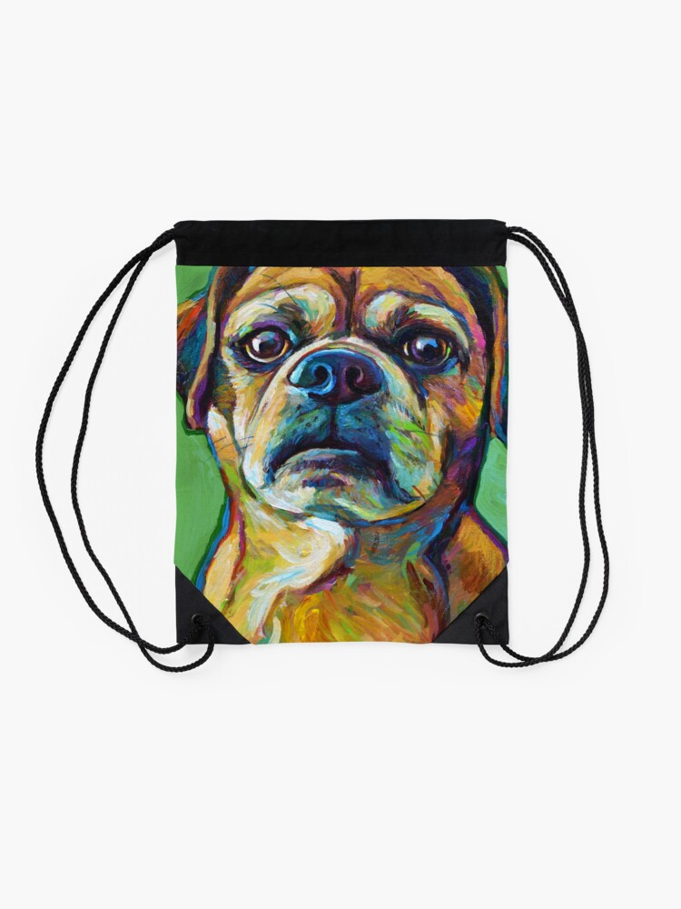 Alternate view of Cute Puggle--Part Pug Part Beagle Drawstring Bag