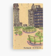 benches in the finance district Canvas Print