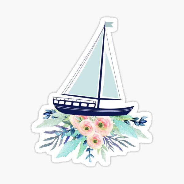 Watercolor flowers and sailboat Sticker