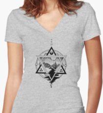 Saturn's Return in Sacred Geometry Women's Fitted V-Neck T-Shirt