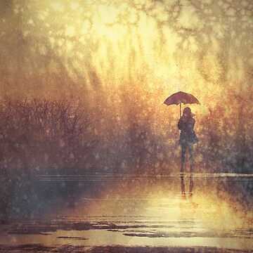 Lonely Rain Walking Digital Painting by bFred