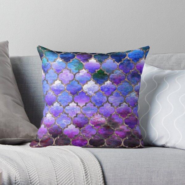 Arabian moroccan pattern Purple  Throw Pillow