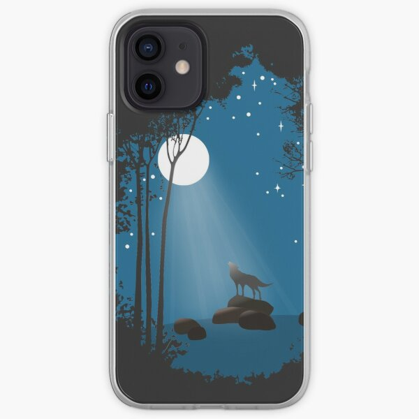 Wolf and the moon iPhone Soft Case