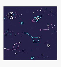 Let's discover the Universe! Adventure time doodle space image.  Photographic Print