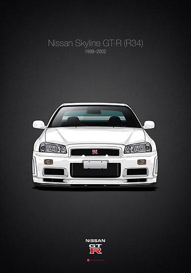 NISSAN  R34  GT-R  GTR  SKYLINE  GODZILLA    QUALITY  BLACK   TSHIRT
