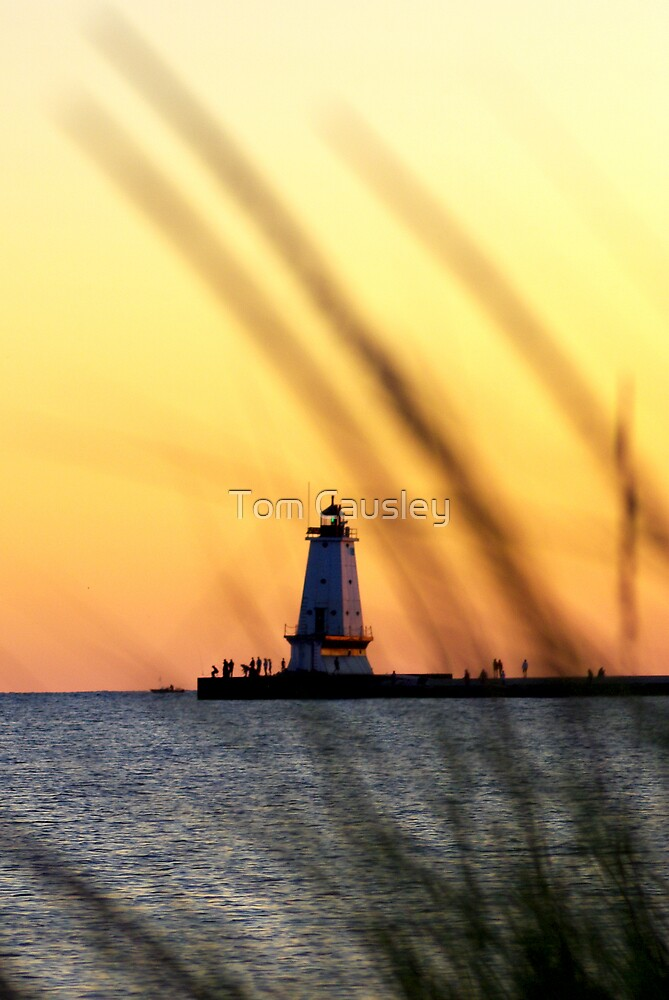 Sunset Ludington Michigan Lighthouse by Tom Causley