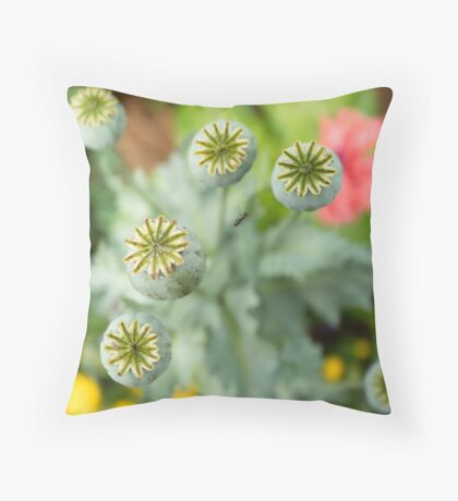Patterns in Poppy Pods Throw Pillow