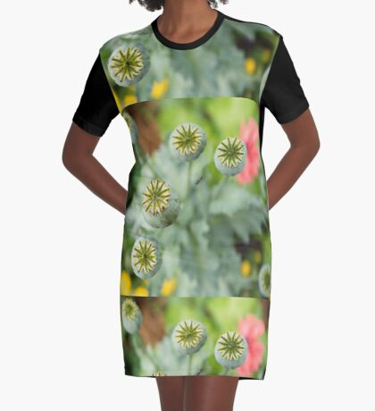 Patterns in Poppy Pods Graphic T-Shirt Dress
