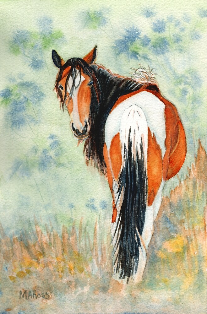 Looking Back-watercolor painting by MARoss by mikalaartist