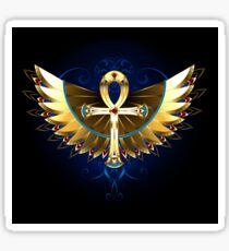 Gold Ankh with Wings Sticker