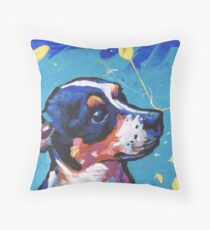 Rat Terrier Dog Bright colorful pop dog art Throw Pillow