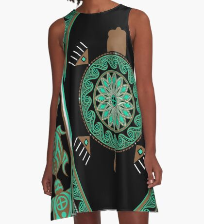 Green Turtle A-Line Dress