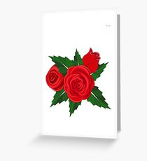 Red roses on white or any color background Greeting Card