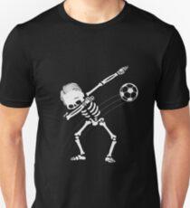 Dabbing Skeleton Soccer Ball Halloween Gift T-Shirt