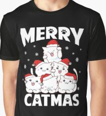 Merry Catmas Funny Pun Christmas Cat Lover Gift Graphic T-Shirt