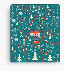 Cute fox waiting for Christmas Canvas Print