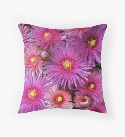 Beautiful Pink Pigface Flowers Throw Pillow