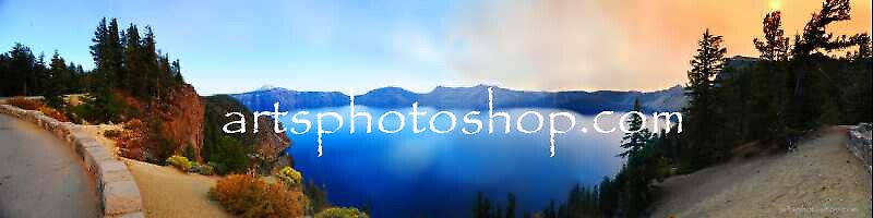 Crater Lake Panoramic View by artsphotoshop