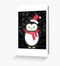 Penguin Animal Lovers Cute Christmas Snow Flakes Gift Greeting Card