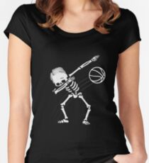 Dabbing Skeleton Basketball Halloween Gift Women's Fitted Scoop T-Shirt