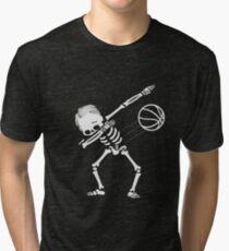 Dabbing Skeleton Basketball Halloween Gift Tri-blend T-Shirt