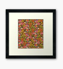 Vintage pattern with humming birds and florals Framed Print