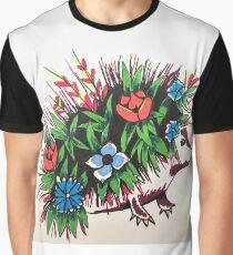 """Shy"" A Floral hedgehog Graphic T-Shirt"